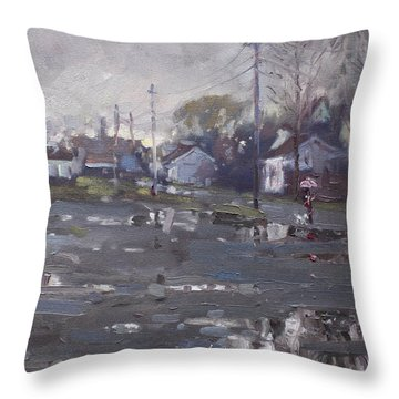 Gloomy And Rainy Day By Hyde Park Throw Pillow by Ylli Haruni