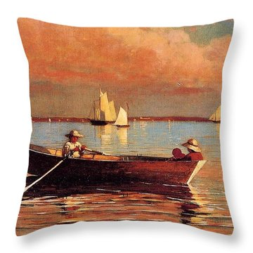 Gloucester Harbor Throw Pillow by Winslow Homer