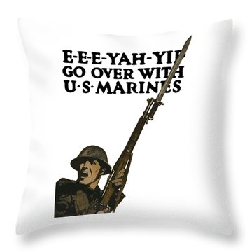 Go Over With Us Marines Throw Pillow by War Is Hell Store