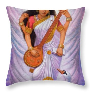 Goddess Saraswati Throw Pillow by Sue Halstenberg