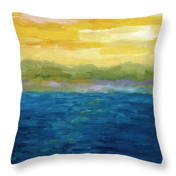 Gold And Pink Sunset  Throw Pillow by Michelle Calkins