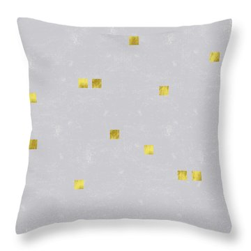 Gold Scattered Square Confetti Pattern On Grey Linen Texture Throw Pillow by Tina Lavoie