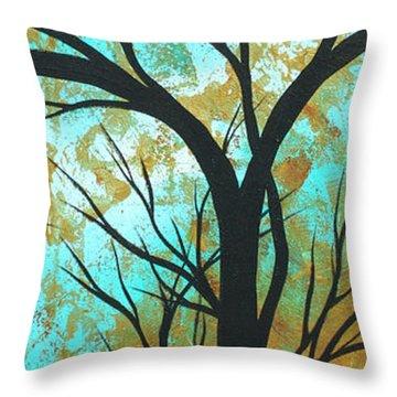 Golden Fascination 4 Throw Pillow by Megan Duncanson