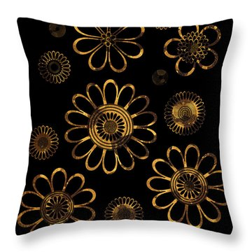 Golden Flowers Throw Pillow by Frank Tschakert