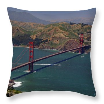 Golden Gate Throw Pillow by Donna Blackhall