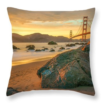 Golden Gate Sunset Throw Pillow by James Udall