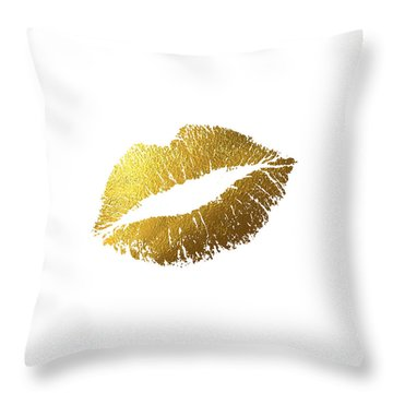 Gold Lips Throw Pillow by Bekare Creative