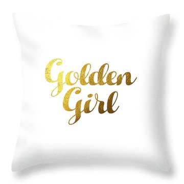 Golden Girl Typography Throw Pillow by Bekare Creative