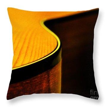 Golden Guitar Curve Throw Pillow by Deborah Smith