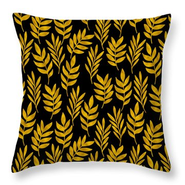 Golden Leaf Pattern Throw Pillow by Stanley Wong