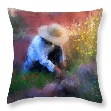 Golden Light Throw Pillow by Colleen Taylor