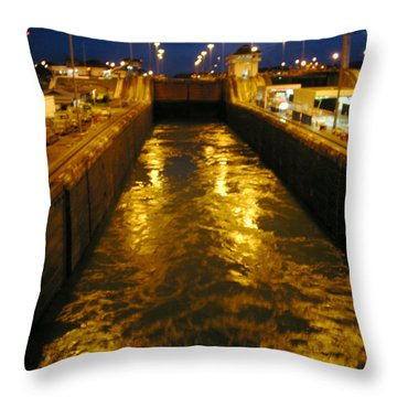 Golden Panama Canal Throw Pillow by Phyllis Kaltenbach
