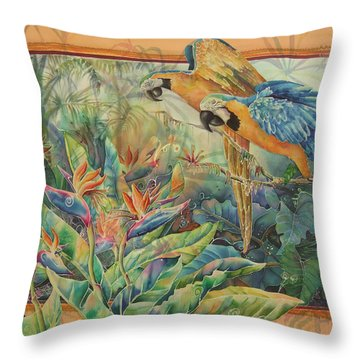 Golden Paradise Throw Pillow by Deborah Younglao