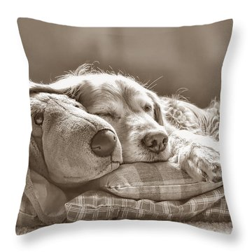 Golden Retriever Dog Sleeping With My Friend Sepia Throw Pillow by Jennie Marie Schell