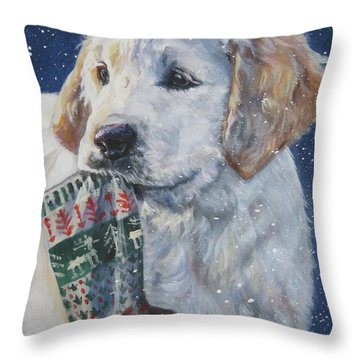 Golden Retriever With Xmas Stocking Throw Pillow by Lee Ann Shepard
