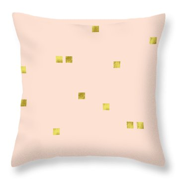 Golden Scattered Confetti Pattern, Baby Pink Background Throw Pillow by Tina Lavoie