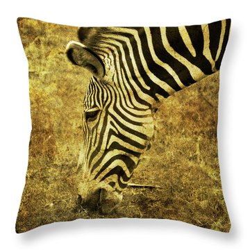 Golden Zebra  Throw Pillow by Saija  Lehtonen