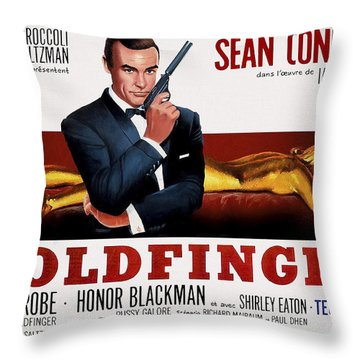 Goldfinger James Bond French Lobby Poster Painterly Throw Pillow by Daniel Hagerman