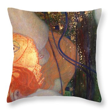 Goldfish Throw Pillow by Gustav Klimt