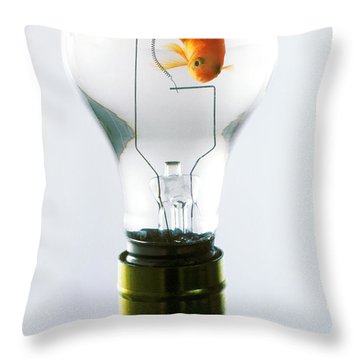 Goldfish In Light Bulb  Throw Pillow by Garry Gay