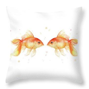 Goldfish Love Watercolor Throw Pillow by Olga Shvartsur