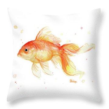 Goldfish Painting Watercolor Throw Pillow by Olga Shvartsur