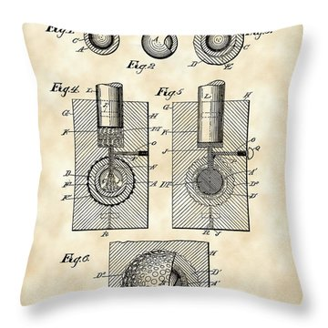 Golf Ball Patent 1902 - Vintage Throw Pillow by Stephen Younts