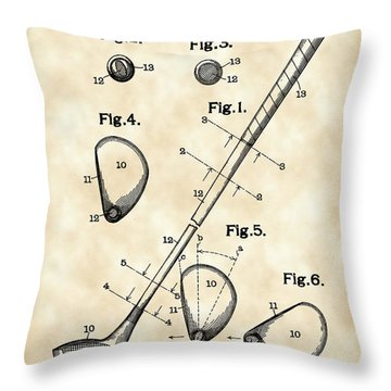 Golf Club Patent 1909 - Vintage Throw Pillow by Stephen Younts