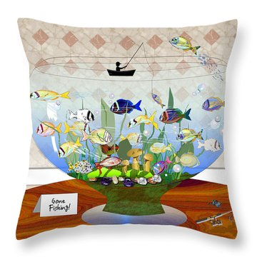 Gone Fishing Throw Pillow by Arline Wagner