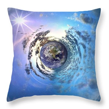 Good Morning World  Throw Pillow by Joan McCool