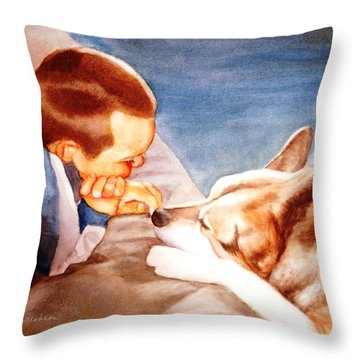 Goodbye Misty Throw Pillow by Marilyn Jacobson