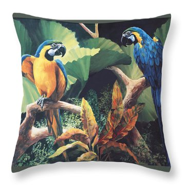 Gossips Throw Pillow by Laurie Hein