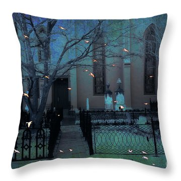 Gothic Surreal Ravens Crows Cemetery Landscape Throw Pillow by Kathy Fornal