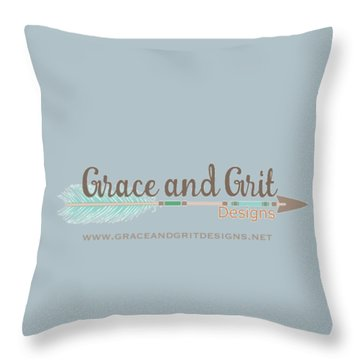 Grace And Grit Logo Throw Pillow by Elizabeth Taylor