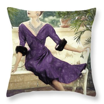 Grace Kelly Draw Throw Pillow by Quim Abella
