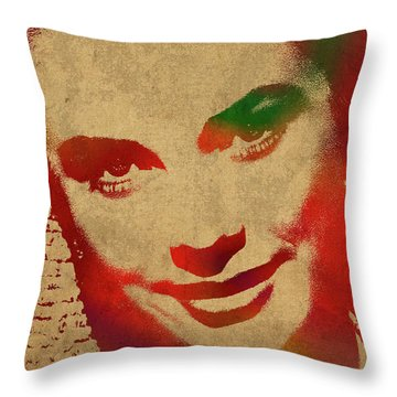 Grace Kelly Watercolor Portrait Throw Pillow by Design Turnpike