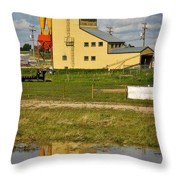 Grain Elevator In Balzac Alberta Throw Pillow by Louise Heusinkveld