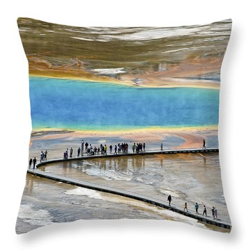 Grand Prismatic Spring Throw Pillow by Teresa Zieba