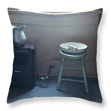 Grandma's Bathroom Throw Pillow by KG Thienemann