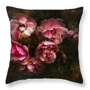 Grandmother's Roses Throw Pillow by Ron Jones