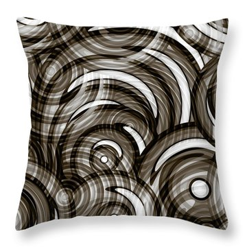 Throw Pillow featuring the painting Graphite Grey Circles Abstract by Frank Tschakert