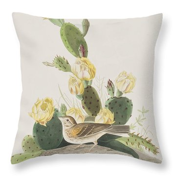 Grass Finch Or Bay Winged Bunting Throw Pillow by John James Audubon