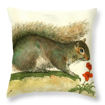 Gray Squirrel Flowers Throw Pillow by Juan Bosco