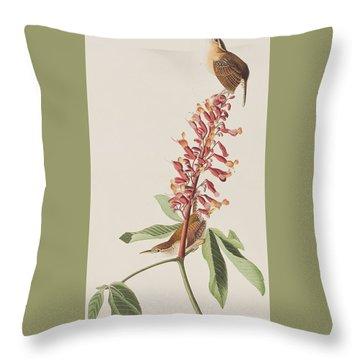 Great Carolina Wren Throw Pillow by John James Audubon
