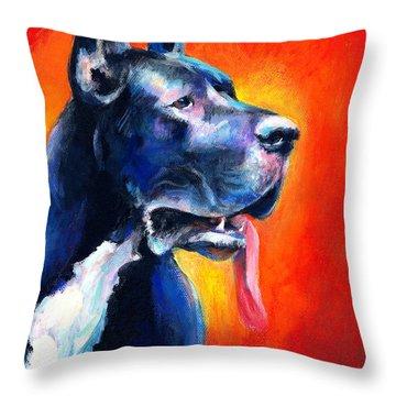 Great Dane Dog Portrait Throw Pillow by Svetlana Novikova
