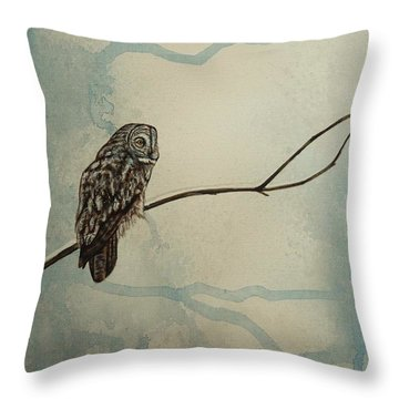 Great Gray Owl Throw Pillow by Lucy Deane