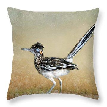 Greater Roadrunner 2 Throw Pillow by Betty LaRue