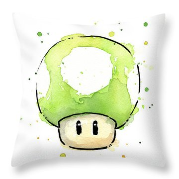 Green 1up Mushroom Throw Pillow by Olga Shvartsur