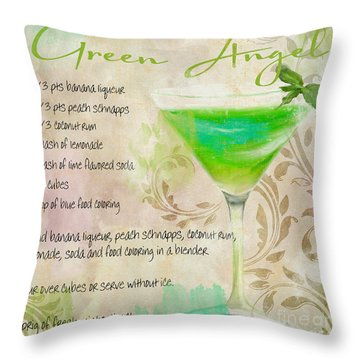 Green Angel Mixed Cocktail Recipe Sign Throw Pillow by Mindy Sommers