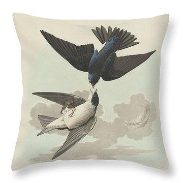 Green-blue Or White-bellied Swallow Throw Pillow by John James Audubon